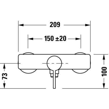 Baterie dus Duravit D-Neo, crom