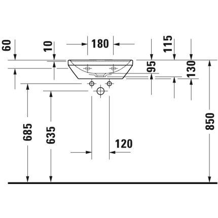 Lavoar Duravit D-Neo 45cm, fara preaplin, alb