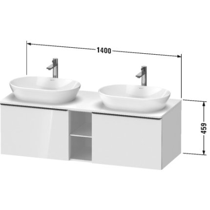 Dulap baza Duravit D-Neo cu 2 sertare, pentru lavoar 140cm, White Matt Decor