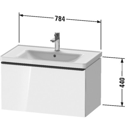 Dulap baza Duravit D-Neo cu 1 sertar, pentru lavoar 80cm, Black Oak