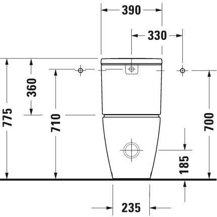 Vas wc Duravit D-Neo Rimless WonderGliss 37x65cm, back-to-wall, pentru rezervor asezat