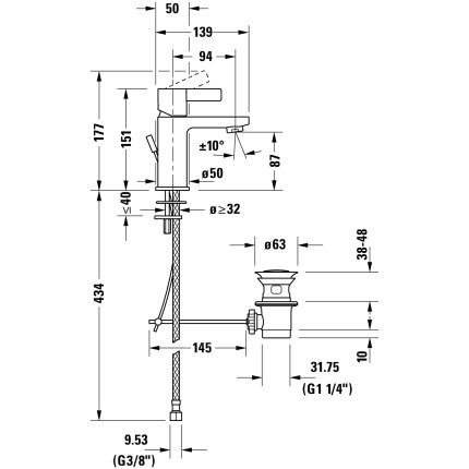 Baterie lavoar Duravit D-Neo S FreshStart, ventil pop-up, crom