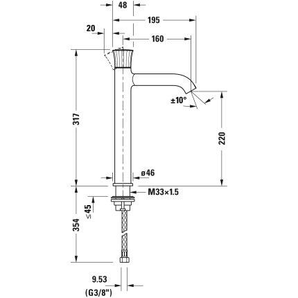 Baterie lavoar Duravit White Tulip XL, pentru lavoare tip bol, crom