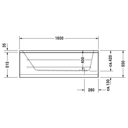 Cada baie rectangulara Duravit D-Code 160x70cm, montaj incastrat, acril