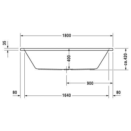 Cada baie rectangulara Duravit D-Code 180x80cm, montaj incastrat, acril