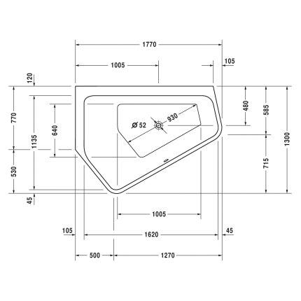 Cada baie asimetrica Duravit Paiova 177x130cm, acril, complet echipata cu panouri si picioare