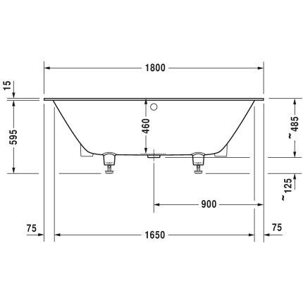 Cada rectangulara incastrabila Duravit DuraSquare 180x80 cm cu picioare incluse