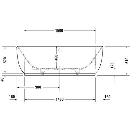 Cada Duravit Luv 185x95 cm, montaj la perete, cu panou integrat si picioare incluse