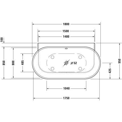 Cada baie ovala Duravit Luv 185x95cm, compozit, montaj la perete, cu panou integrat si picioare incluse