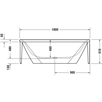Cada freestanding Duravit XViu 180x80cm cu cadru metalic champagne mat si sifon cu preaplin integrat