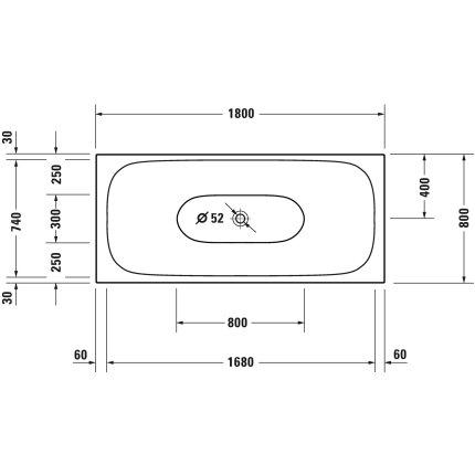 Cada freestanding Duravit XViu 180x80cm cu cadru metalic negru mat si sifon cu preaplin integrat