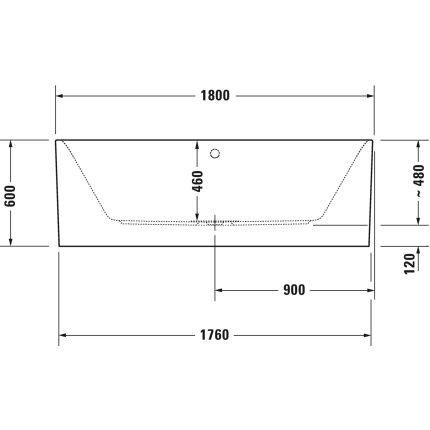 Cada free-standing Duravit Happy D.2 Plus, 180x80 cm, acril, grafit super mat