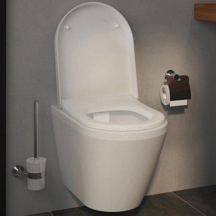 Set vas WC suspendat VitrA Integra 54cm Rim-Ex cu functie de bideu, prinderi ascunse si capac inchidere lenta