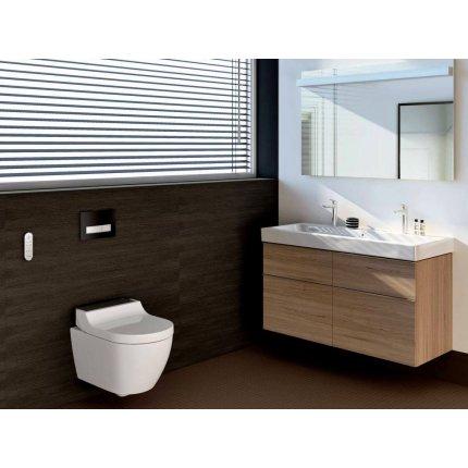 Capac WC Geberit AquaClean Tuma Comfort cu inchidere lenta, functie bideu electric, ornament sticla alba