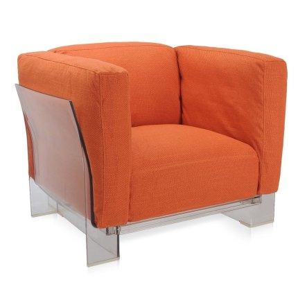 Fotoliu Kartell Pop Duo design Piero Lissoni & Carlo Tamborini, cadru transparent, tapiterie Nile, orange