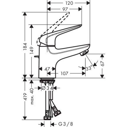 Baterie lavoar Hansgrohe Novus 70, ventil pop-up