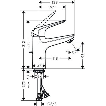 Baterie lavoar Hansgrohe Novus 100, ventil pop-up