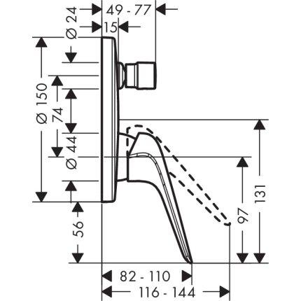 Baterie cada Hansgrohe Novus cu montaj incastrat, necesita corp ingropat