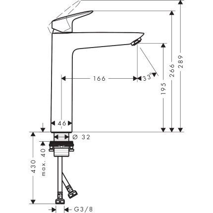 Baterie lavoar Hansgrohe Logis 190, fara ventil, pentru lavoar tip bol