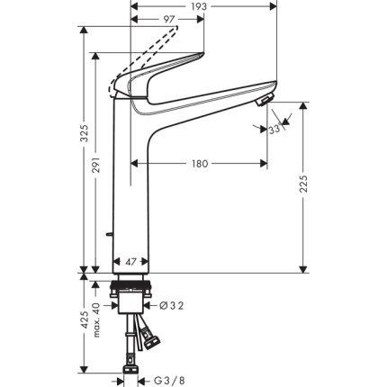 Baterie lavoar Hansgrohe Novus 230 pentru lavoare tip bol, ventil pop-up