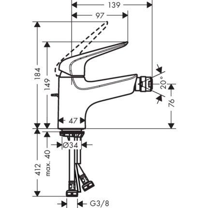 Baterie bideu Hansgrohe Novus 70, ventil pop-up