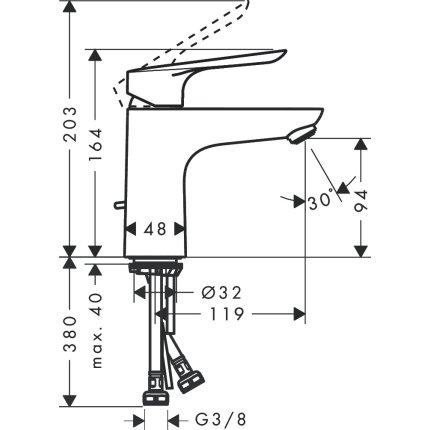 Baterie lavoar Hansgrohe Logis E 100, ventil pop-up