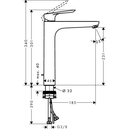 Baterie lavoar Hansgrohe Logis E 230 pentru lavoare tip bol, ventil pop-up