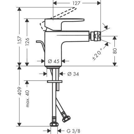 Baterie bideu Hansgrohe Vernis Blend cu ventil pop-up, crom