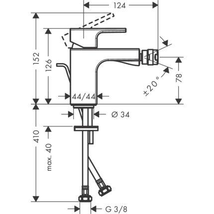 Baterie bideu Hansgrohe Vernis Shape cu ventil pop-up, crom