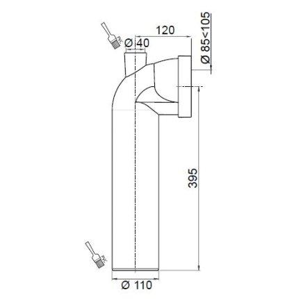 Cot WC rigid Wirquin PRO cu conectare suplimentara si manson, D110mm