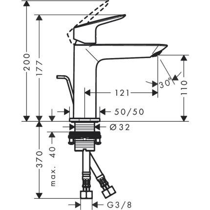 Baterie lavoar Hansgrohe Logis 110 Fine, ventil pop-up