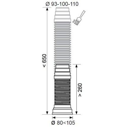 Racord WC extensibil Wirquin PRO, armatura inox, D93/100/110mm, L650mm