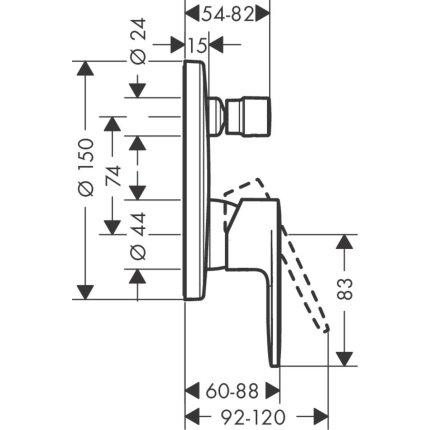 Baterie cada Hansgrohe Vernis Blend montaj incastrat, necesita corp ingropat, crom