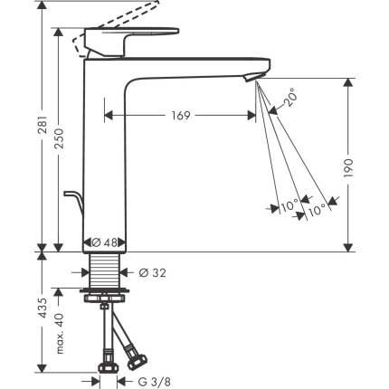 Baterie lavoar Hansgrohe Vernis Blend 190, ventil pop-up, pentru lavoar tip bol, crom
