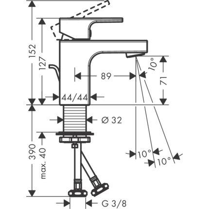 Baterie lavoar Hansgrohe Vernis Shape 70, ventil pop-up, crom