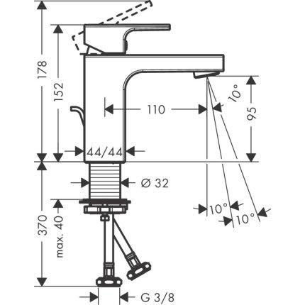Baterie lavoar Hansgrohe Vernis Shape 100, ventil pop-up, negru mat