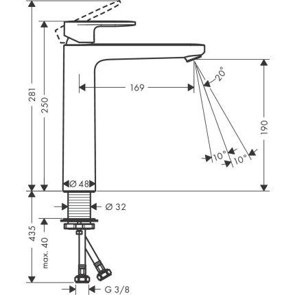 Baterie lavoar Hansgrohe Vernis Blend 190, pentru lavoar tip bol, fara ventil, negru mat