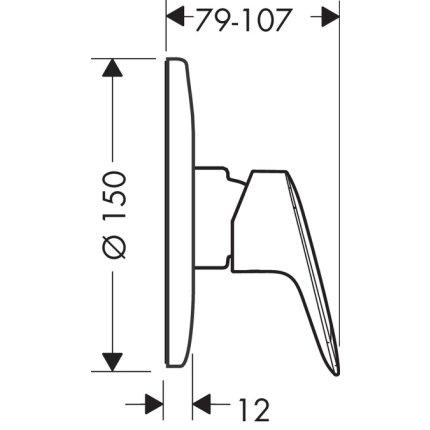 Baterie dus Hansgrohe Logis cu montaj incastrat, corp ingropat inclus