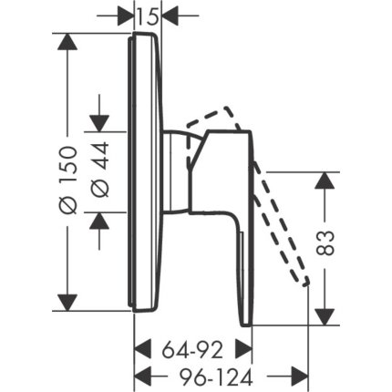 Baterie dus Hansgrohe Vernis Blend montaj incastrat, necesita corp ingropat, crom