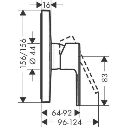Baterie dus Hansgrohe Vernis Shape montaj incastrat, necesita corp ingropat, crom