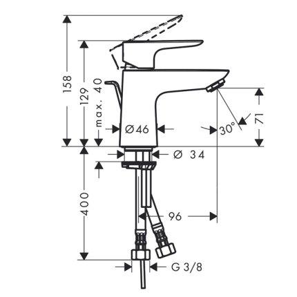 Baterie lavoar Hansgrohe Talis E 80, ventil push-open