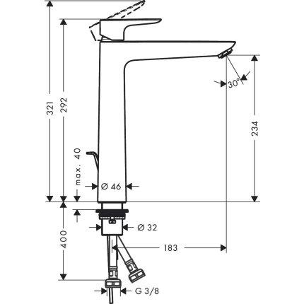 Baterie lavoar Hansgrohe Talis E 240, ventil pop-up, pentru lavoar tip bol, negru mat