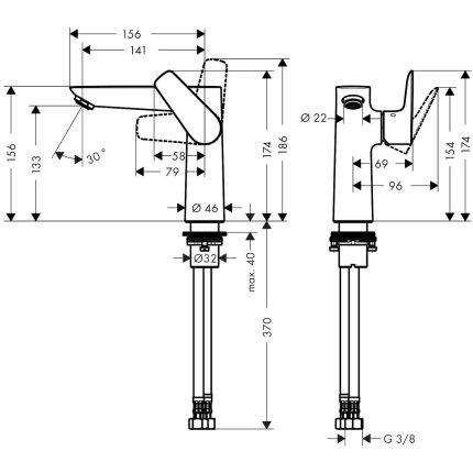 Baterie lavoar Hansgrohe Talis E 150, fara ventil