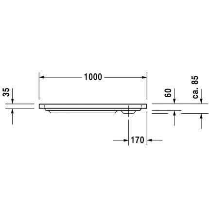 Cadita de dus dreptunghiulara Duravit D-Code 100x70cm, acril, alb