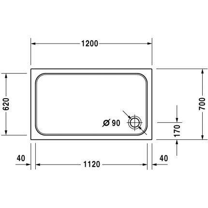 Cadita de dus dreptunghiulara Duravit D-Code 120x70cm, acril, alb