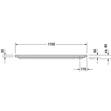 Cadita de dus dreptunghiulara Duravit D-Code 170x70cm, acril, alb