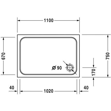 Cadita de dus dreptunghiulara Duravit D-Code 110x75cm, acril, alb