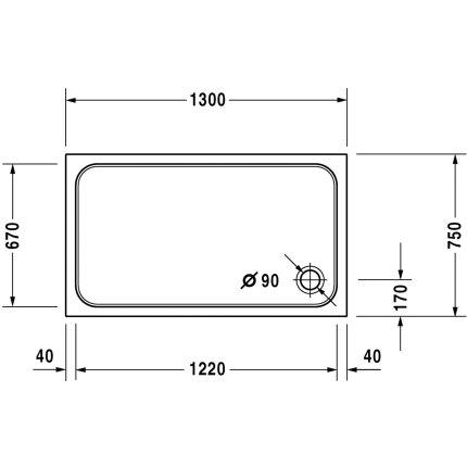 Cadita de dus dreptunghiulara Duravit D-Code 130x75cm, acril, alb