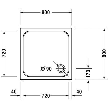 Cadita de dus patrata Duravit D-Code 80x80cm, acril, alb