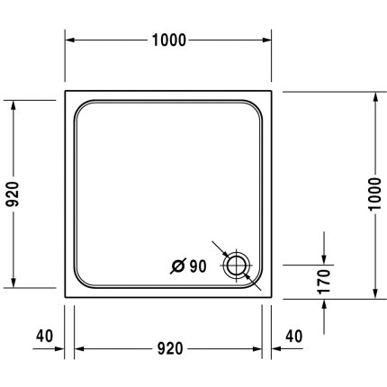 Cadita de dus patrata Duravit D-Code 100x100cm, acril, alb